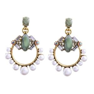 Green Pearl Vintage Gold Drop & Dangle Earrings